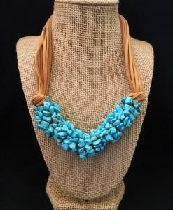 Turquoise Stone Strand Necklace