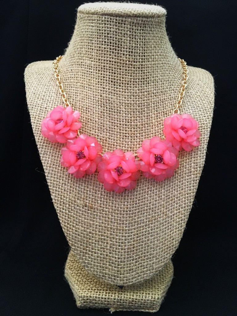 Clear Pink Flower Necklace