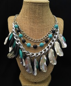 Turquoise & Black Feather Drop Necklace