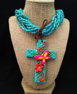 Seed Bead & Butterfly On Cross Pendant Necklace