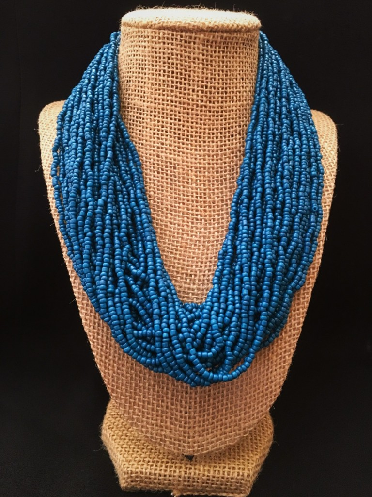 Seed Bead Necklace ( Blue )