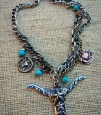 Turquoise & Detailed Longhorn Boot Charm