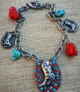 Turquoise & Red Boot Charm