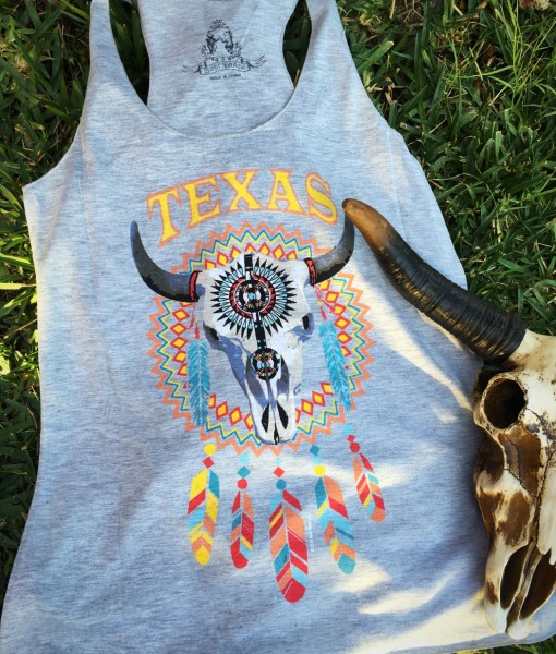 Texas Longhorn Tank Top ( Gray)