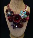 3D Flower Fashion Necklace ( Burgundy )