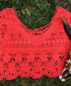 Coral Crochet Shirt