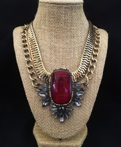Ruby Red Wash Stone & Crystal Statement Necklace