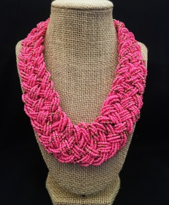 Coral & Gold Braided Bead Necklace
