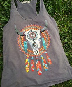 Bull Skull & Dream Catcher Faux Suede Tank Top