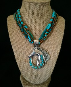 Turquoise/ Brown Bead & Horse Pendant Necklace