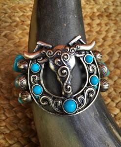 Bull On A Horseshoe Bracelet