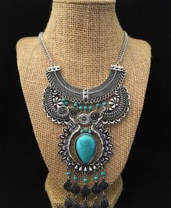 Boho Turquoise & Antique Silver Squash Blossom