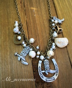 Antique White Stone & Pearl Boot on A Horseshoe Charm Necklace