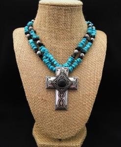 Turquoise / Black Stone & Cross Pendant Necklace