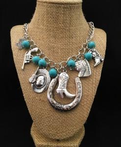 Western Boot On Horseshoe & Charm Necklace