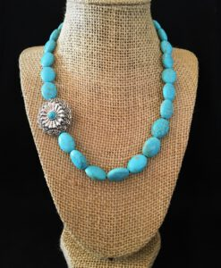 Turquoise & Side Concho Necklace