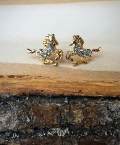 Rhinestone Horse Stud Earrings ( Gold )