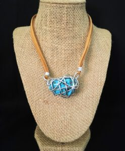 Turquoise Cage Stone & Leather Necklace