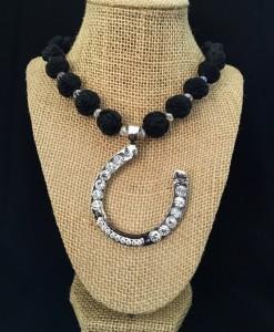 Rose & Bling Horseshoe Pendant Necklace