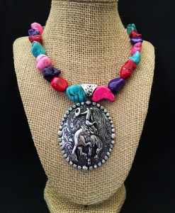 BUCKING BRONCO CONCHO NECKLACE