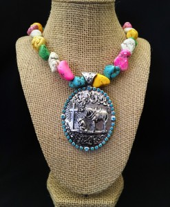 Praying Cowboy Concho Necklace
