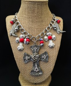 Rose Cross & Boot Charm Necklace