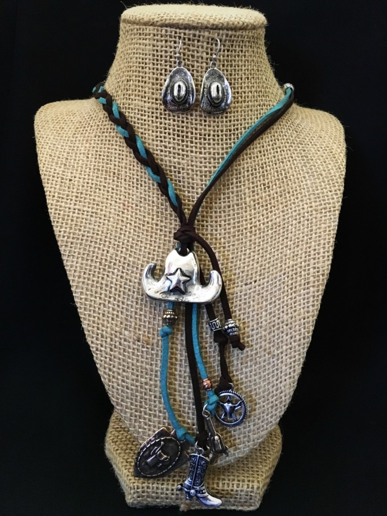 Turquoise & Brown Braided Leather & Charm Necklace Set