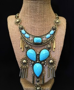 Turquoise & Flower Boho Statement Necklace