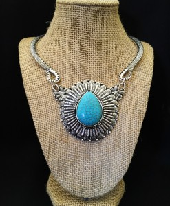 TURQUOISE TEARDROP CUFF NECKLACE