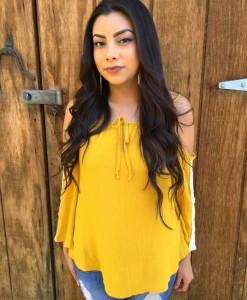 Lace Detail Mustard Shirt