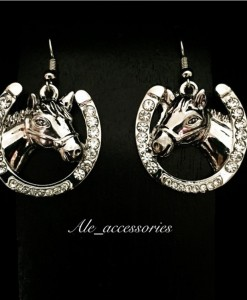 Horse On A Horseshoe Earrings