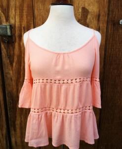 Pink Open Shoulder Top