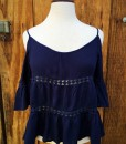 NAVY BLUE OPEN SHOULDER TOP
