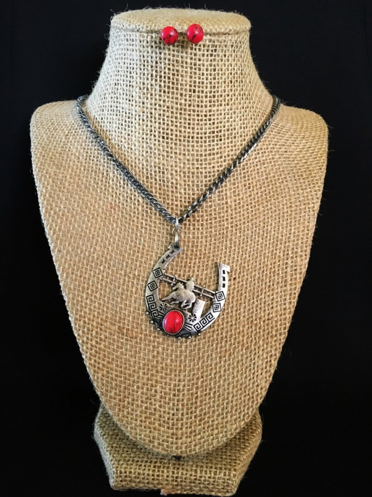 Red Stone & Barrel Racer Necklace Set