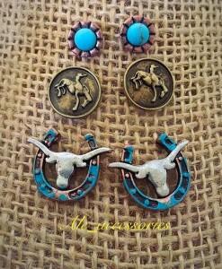 Longhorn On A Horseshoe Stud Set Earrings