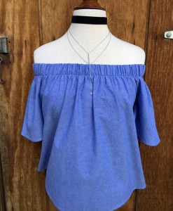 PLAIN BLUE OFF THE SHOULDER TOP