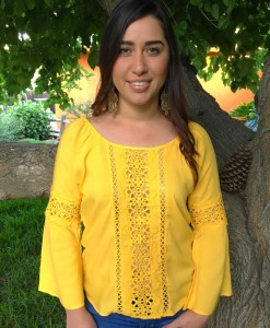 Yellow Eyelet & Bell Sleeve Top