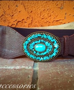 TURQUOISE ROUND BUCKLE & STRETCH BELT