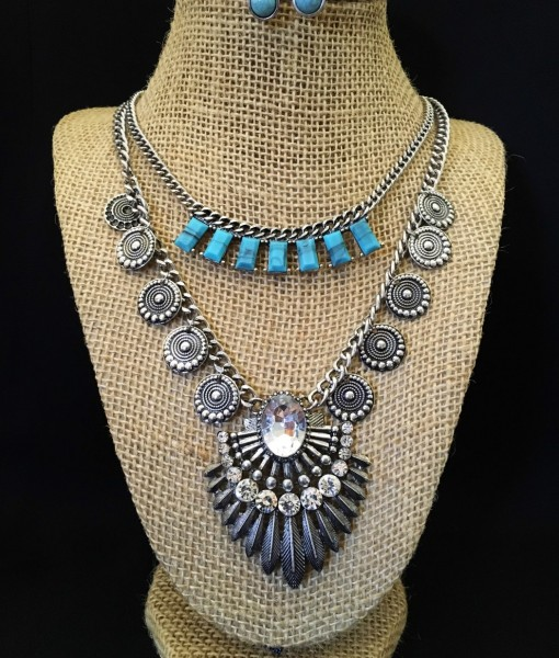 Double Layer Turquoise & Crystal Necklace