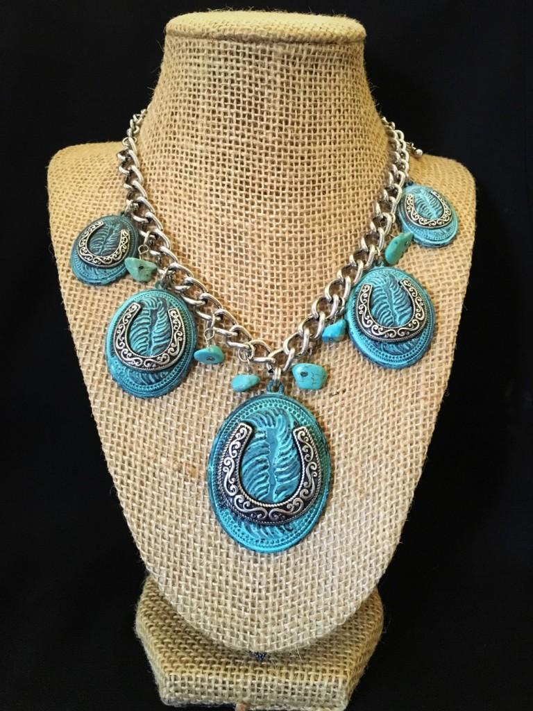 Turquoise Horseshoe Necklace