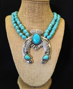 Turquoise Navajo Squash Blossom Necklace