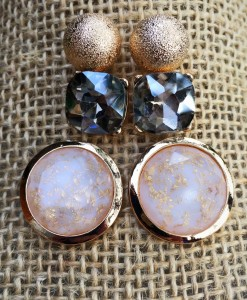 Nude & Crystal Stud Set Earrings