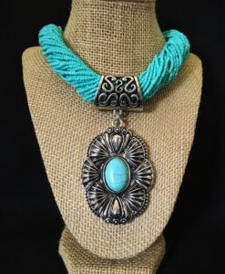 Turquoise Seed Bead & Flower Pendant Necklace