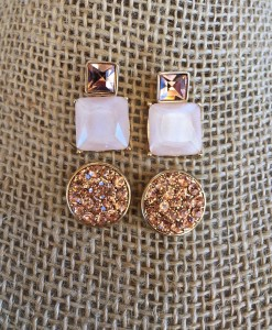 Rose Gold Stud Set Earrings