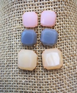 Pastel Square Stud Set Earrings