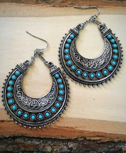 Turquoise & Silver Half Moon Earrings