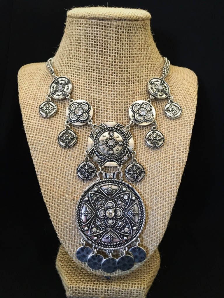 Floral Detail Circle & Coin Necklace
