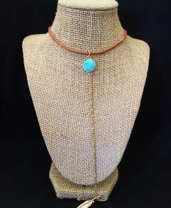 Leather / Turquoise Stone Charm & Feather Drop Necklace