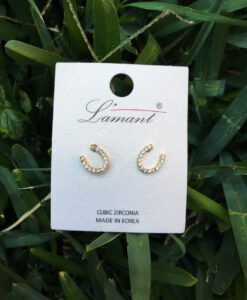 Mini Horseshoe Earrings ( Gold )