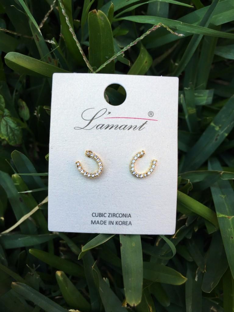 Mini Horseshoe Earrings ( Gold )